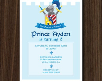 Invitation: Medieval Castle Printable Invitation 5x7 inches, Prince Castle Invitation, Knight Castle HIGH RESOLUTION Digital File Invite