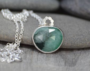 Rose Cut Emerald Necklace, 6.45ct Emerald Necklace, May Birthstone, Large Emerald Necklace Handmade In The UK