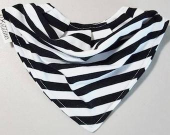 Striped Bandana Bib - Drool Bib - Slouchy Bandana Bib - Black and White Bandana Bib - Jersey Knit Bandana Bib - Cute Bandana Baby Bib