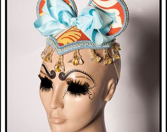 Go Ask Alice... Mouse Ears in Burnt Orange, Powder Blue, adn Mustard Yellow with Beads anda Giant Powder Blue Bow Fascinator Headdress