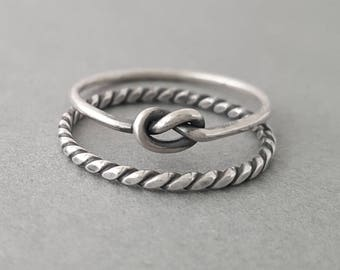 Love Knot Ring and 14 Gauge Flat Twist Ring bridesmaid gifts for women promise ring friendship ring oxidized sterling silver stacking ring