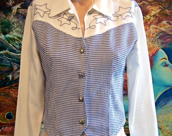 Western Blouse, Southwestern, Roughrider, Cowgirl, Gingham, size S / XS