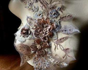 Metallic ROSE GOLD & Silver 3D Applique , Beaded and Embroidered for Lyrical Dance, Ballet, Couture Gowns F18-1