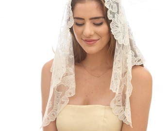 Vintage Lace Mantilla Wedding Veil, Made in Spain, Short Ivory Lace Catholic Church Veil,