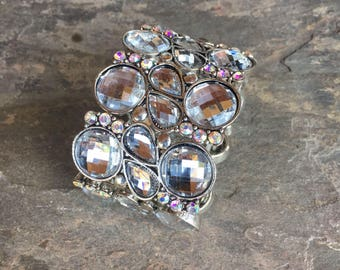 Crystal Cuff Bracelet Stretch Band Wide Cuff Prisms Glass Beads Gems Ice 1980s Jewelry