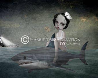 Shark Art Print - Sailor Girl & Shark - Lowbrow Art - Daydream
