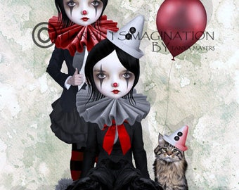 Clown Art Print - Clown Girls & Ragdoll Cat - Digital/Mixed Media Art - A4 Art Print - Trio