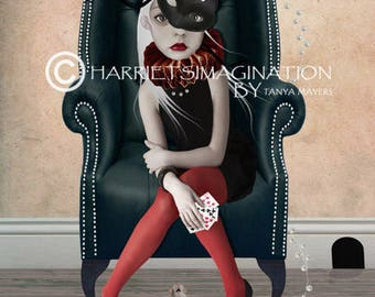 Pop Surrealism Art Print - Girl And Mouse - Digital/Mixed Media Art - A4 Art Print - Winner Takes All