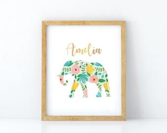 Printable Digital Nursery Art print, Digital download, Personalized name art print, Elephant art print, Elephant wall art, floral wall art