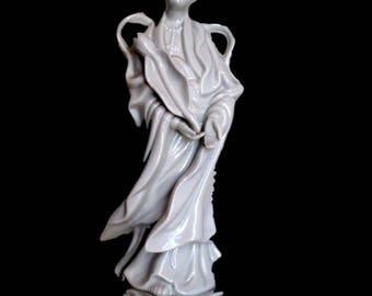 Vintage Quan Yin Chinese Porcelain Kuan-yin Blanc De Chine Guanyin Buddha White Ceramic Homco Figurine Statue