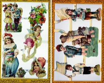 Victorian scrapbooking die cuts - reproduction lithograph - children angels and seaside adventures - one sheet - paper collage supplies