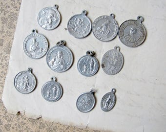 vintage religious medals - small aluminium medallions - double sided - perfect for assemblage earrings - 6 pairs