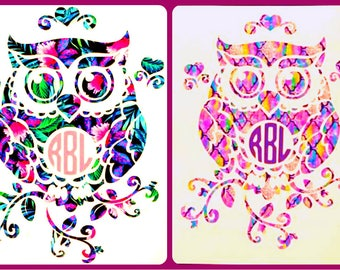 Owl Monogram Vinyl Decal Sticker Die Cut Custom Car Window Laptop Tumbler Water Bottle Bumper - You Choose Size and Color
