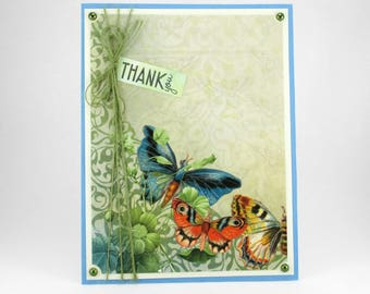 Thank you card, butterfly cards, butterflies, Thinking of you cards, thanks, handcrafted thank you cards