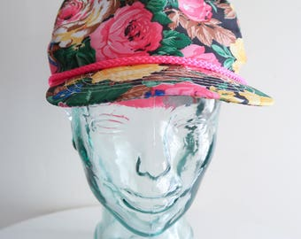 Colorful PINK floral 80s / 90s summer baseball hat UNISEX OS