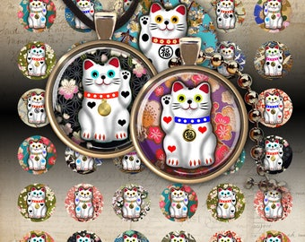 """Printable download 1 inch (25mm) and 1.5"""" round images LUCKY CAT Digital Collage Sheet for pendants bezel trays magnets cabochons ArtCult"""