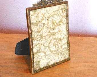 "Vintage Antique Edwardian Brass Picture Frame Made in Germany - Goldtone Easel Back - 4.75"" x 3.75"" Rectangle - Aged Patina - Ribbon Motif"