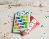 Teacher Appreciation printable gift card box calculator holder or party favor boxes DIY craft containers for teachers foldable giftcard box