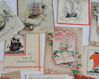 RESERVED Cargo of Holiday Wishes Featuring Tall Ships Replica USS Constitution Japanese Wooden Card Vintage Christmas Lot No 1132 Total 16