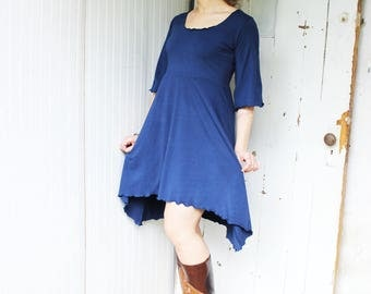 Cedar Dress - Organic Half Bell Sleeve A-Line Scoop Neck Dress - Organic Clothing - Eco Fashion - Made to Order