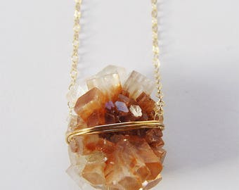 Peach Aragonite Gold Necklace  -  Crystal Mineral Stone