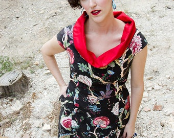 High Collar Dress, Asian Floral Print Dress, Cap Sleeve Dress in Black and Red, Aline Dress with Pockets