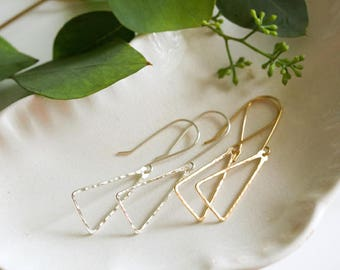 Hammered Open Triangle Earrings / Sterling Silver or 14k Gold Filled / Gifts for Her / Modern / Under 50