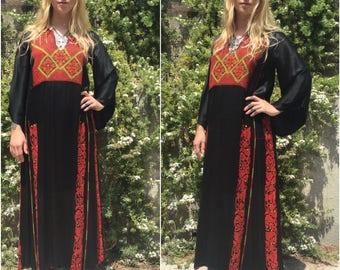antique hand embroidered nomadic Kuchi Ethnic Dress Rayon Silk? Angel Sleeve. Palestinian. Bedouin. Afghani. Ethnic. Festival. Original eb