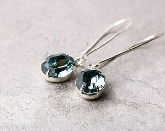 Midnight Blue Crystal Earrings | Blue Earrings | Bridal Jewelry | Bridesmaid Jewelry | Gift for Bridesmaid | Bridal Earrings | Downton Abbey