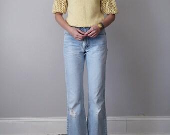 80s yellow knit sweater top blouse silk angora open weave (s - m)