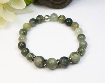 Green Line Jasper Bracelet - Stretch Bracelet - Stackable Bracelet - Gemstone Beaded Bracelet - Natural Gemstone Bracelet - Jasper Bracelet