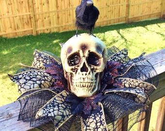 Skull Raven Crow Dia de los Muertos - Day of the Dead Halloween Centerpiece