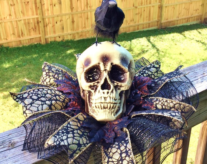 SALE- Skull Raven Crow Dia de los Muertos - Day of the Dead Halloween Centerpiece