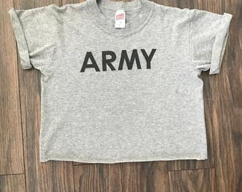 The Vintage Heather Gray Cropped Army Tee Tshirt