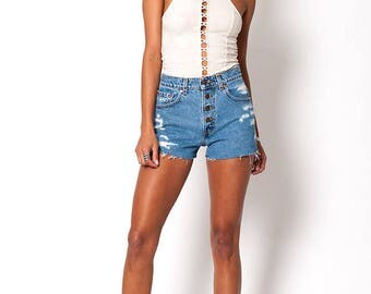 The Levi Strauss Exposed Buttons Distressed Shorts Size 26