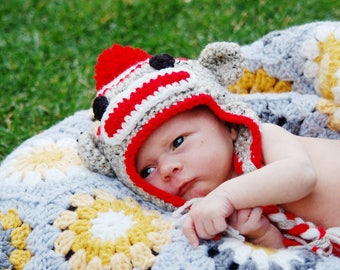 Sock Monkey Baby Hat, Monkey Baby Hat, Crochet Monkey Hat, Newborn Monkey Hat, Sock Monkey Baby Shower Gift, Crochet Baby Hat