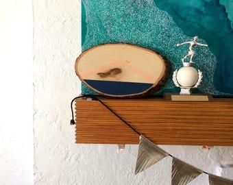Artifacts of Joy - Navy Artifact - Painting on Wood - Wood slice - Abstract art