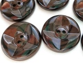 Chocolate Swirls Vintage Buttons - 6 Warm Brown 1 1/8 inch Coat Jacket Blazer Buttons for Sewing Knitting
