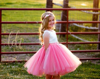 New! The Juliet Dress in Ivory and Peach Coral - Flower Girl Tutu Dress