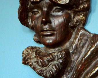 Vintage Bohemian Lady Sculpture Wall Hanging / Ceramic Victorian Woman Bust / Romantic Gypsy Boho Decor / Woman on the Wall
