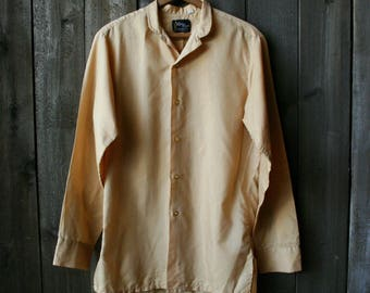 1940s Mens Shirt Century Classics Small Cream Color Boyfriend Shirt Vintage From Nowvintage on Etsy
