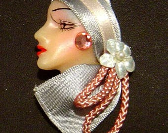 """Vintage 1980""""s Lady Head Face profile Pin brooch Flapper hand painted rhinestone blue ribbon FREE SHIPPING"""