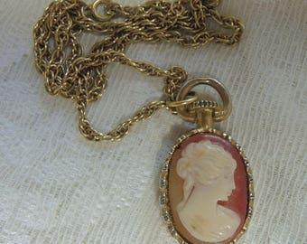 Vintage Cameo Necklace - Costume Jewelry - Mid Century