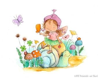 Caraway Star Goes On An Adventure  - Brunette Fairy Riding Snail - Fairy Art - Art Print