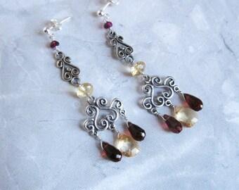 Garnet Citrine Earrings- in Silver