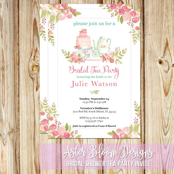 Bridal Shower Tea Party Invitation Printable High Tea Invite