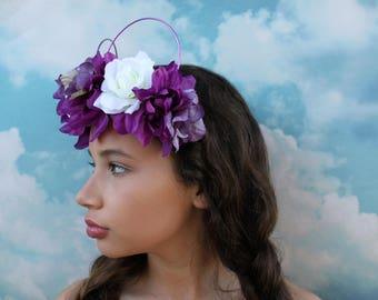HALO style purple and white Mickey Ears   Mickey Ears Headband   floral Mickey ears   Flower Crown Mickey Ears   Wire Mickey Ears