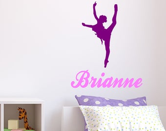 Ballerina Decal, Personalized Decal, Dance Decal, Nursery Decal, Childs Room Decal, Play Room Decal, Kids Room Decal