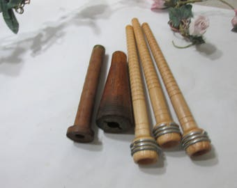 Vintage Wood Bobbins Commercial Textile Set of 5