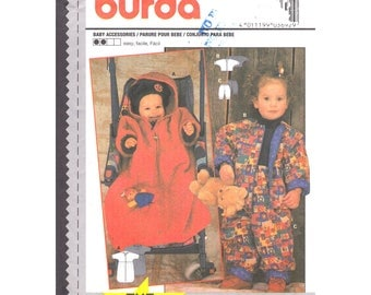Baby Sewing Pattern Hooded Bunting, Jacket, Pants Burda 3692 Sacque Outerwear Infant Size 6M 9M 12M 18M 2 UNCUT